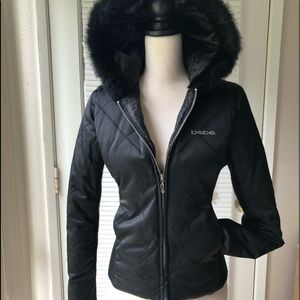 BeBe Down Black Fur Jacket (S)